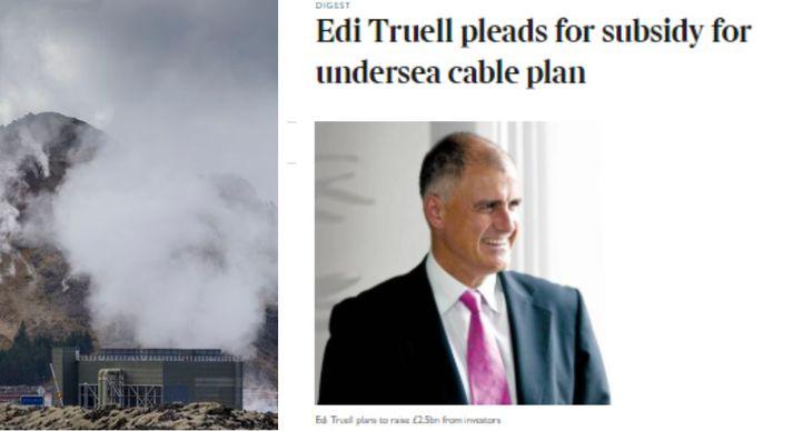 Bretinn Edi Truell virðist vera mjög áhugasamur um lagningu sæstrengs á milli Bretlands og íslands.