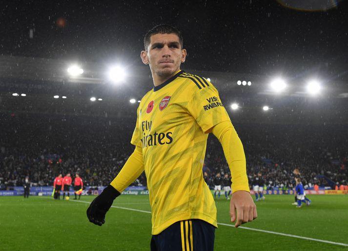 Lucas Torreira í leik Arsenal gegn Leicester á dögunum.
