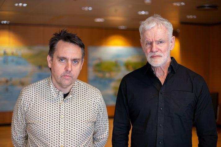Bjarni V. Halldórsson, yfirmaður greiningar erfðaraða hjá ÍE, og Kári Stefánsson, forstjóri ÍE.
