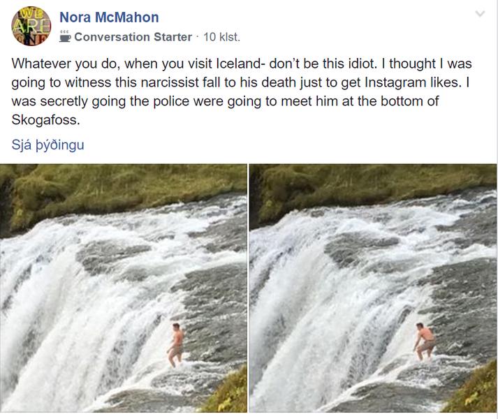 Færsla Noru McMahon hefur vakið mikla athygli og umtal í Facebook-hópnum Iceland Q&A. Myndirnar af manninum sjást í skjáskoti af færslunni.