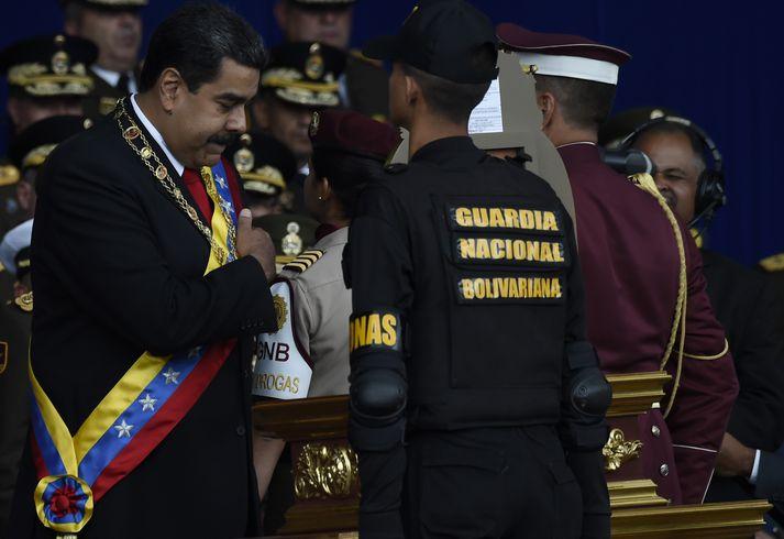 Nicolas Maduro, forseti Venesúela, fyrir árásina.