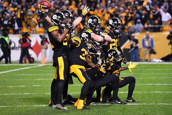 Það var gaman hjá leikmönnum Pittsburgh Steelers í nótt.