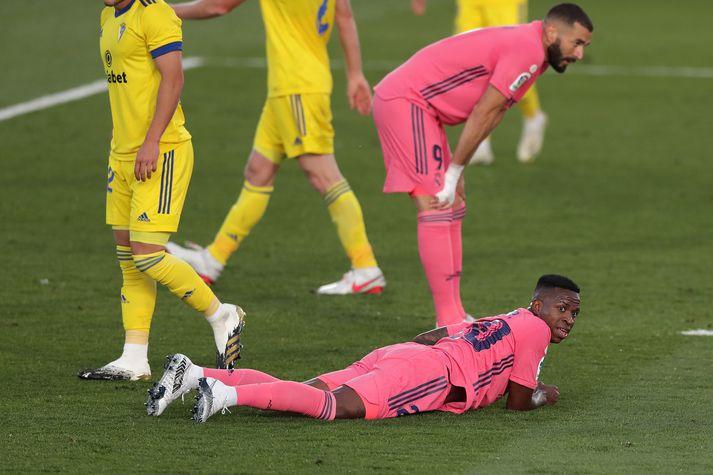Leikmenn Real Madrid voru eðlilega svekktir eftir óvænt tap í kvöld.