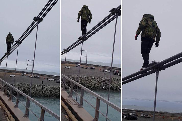 Spurning hvort kvikmyndin Man on Wire sé innblástur þessa erlenda ferðamanns eða hann ætli að sækja um í Sirkusi Íslands.