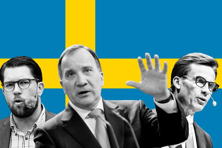 Jimmie Åkesson, Stefan Löfven og Ulf Kristersson fara fyrir þremur stærstu flokkunum í Svíþjóð.