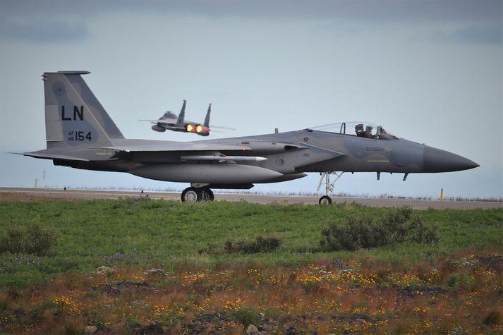 F-15 þotur verða notaðar við loftrýmisgæsluna.