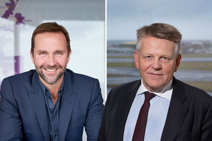 Skúli Mogensen stofnandi og forstjóri Wow Air og Björgólfur Jóhannsson forstjóri Icelandair.