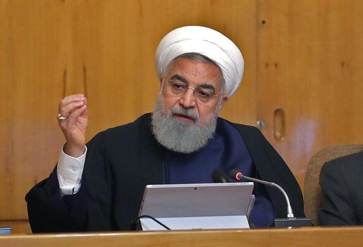 Rouhani er ekki sáttur við viðskiptaþvinganirnar.