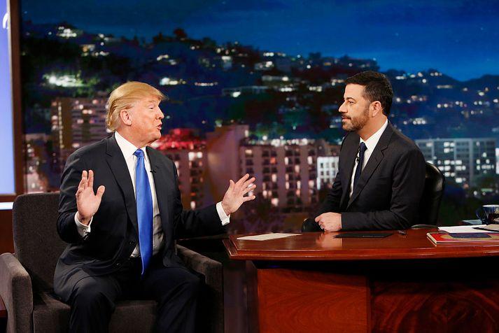 Trump sagði sögu sem tengdist heimsókn hans til Jimmy Kimmel.