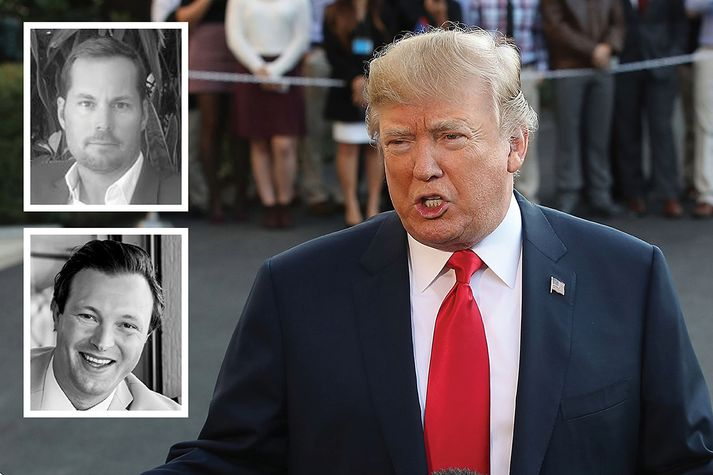 Aflýs varð Íslandsflugi herramanna tveggja sem sjást hér við hlið Donald Trump.
