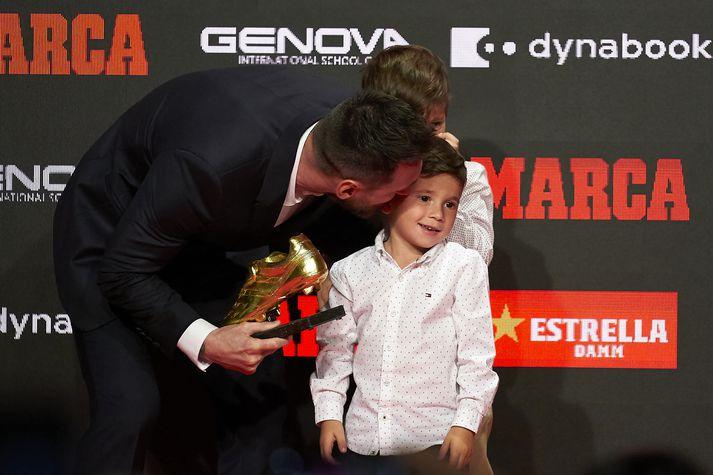 Lionel og Mateo Messi.