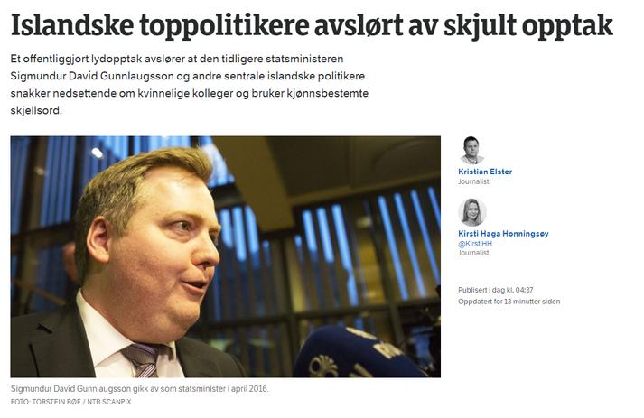 Ein efsta frétt á norska ríkisútvarpinu lítur svona út í dag.