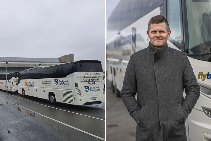 Björn Ragnarsson hjá Kynnisferðum telur þetta óheppilegt, að hans fyrirtæki greiði virðisaukaskatt en Airport Direct ekki.