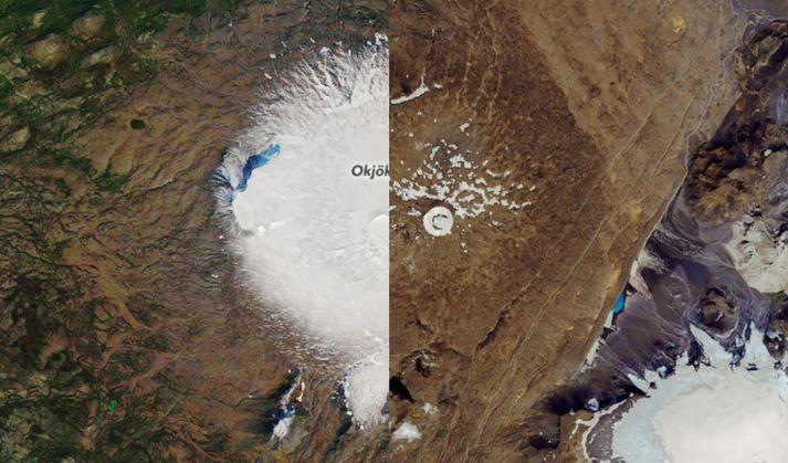 Okjökull árið 1986 (t.v.) og Okið árið 2019 (t.h.)