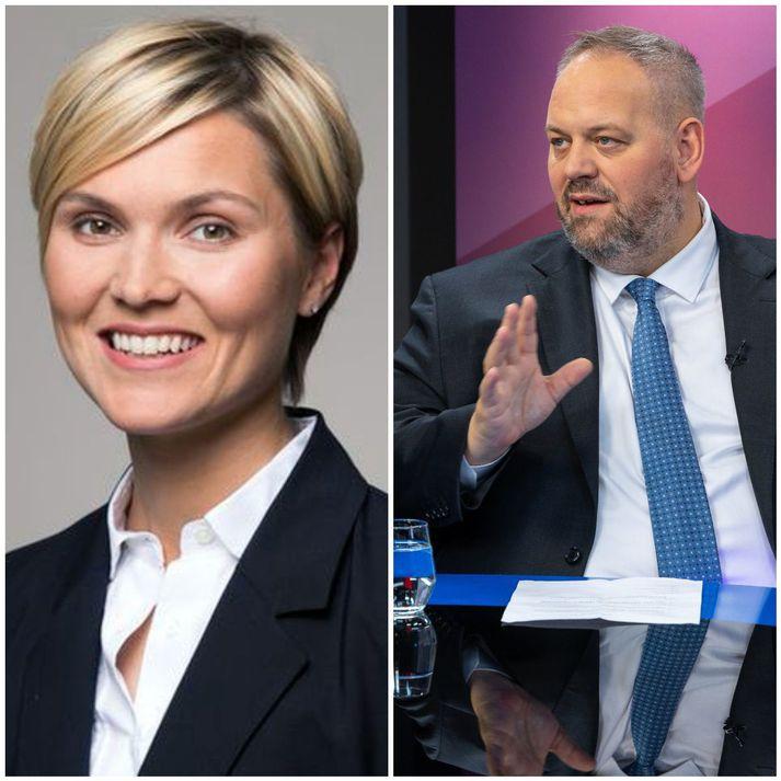 Kristrún Frostadóttir frambjóðandi Samfylkingarinnar og Andrés Jónsson almannatengill.