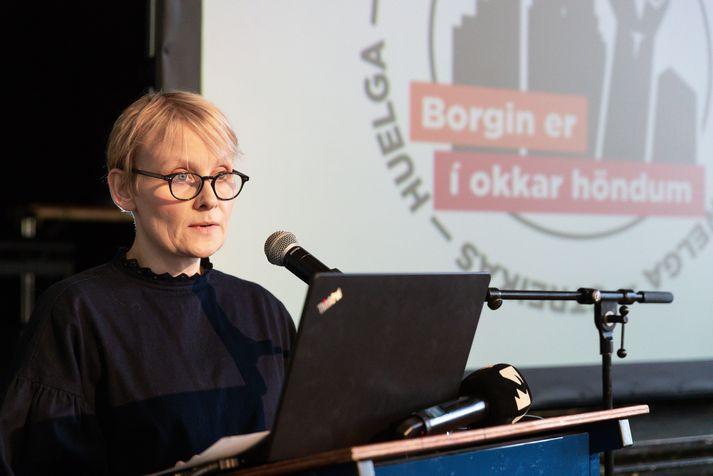 Sólveig Anna Jónsdóttir, formaður Eflingar, tók til máls við upphaf fundarins í dag.