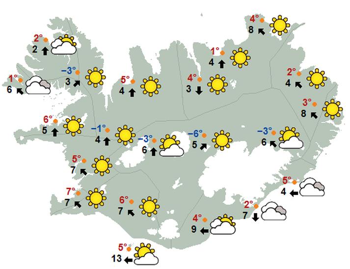 Svona verður veðrið kl.17 á morgun, mánudag, samkvæmt Veðurstofu Íslands.