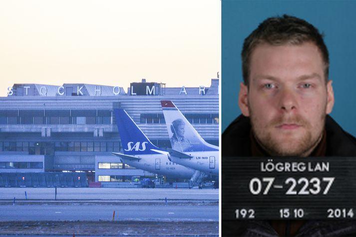 Sindri flaug til Svíþjóðar með Icelandair á öðru nafni.