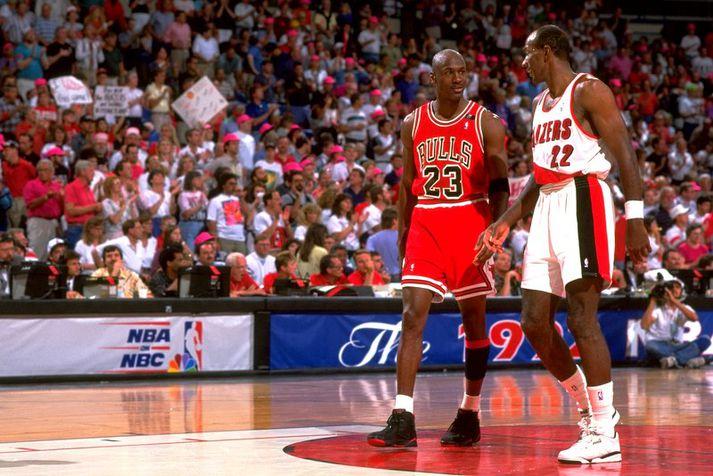 Michael Jordan of Clyde Drexler í úrslitunum 1992.