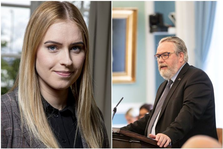 Fjóla Hrund Björnsdóttir og Þorsteinn Sæmundsson tókust á um oddvitasætið í Reykjavík suður.
