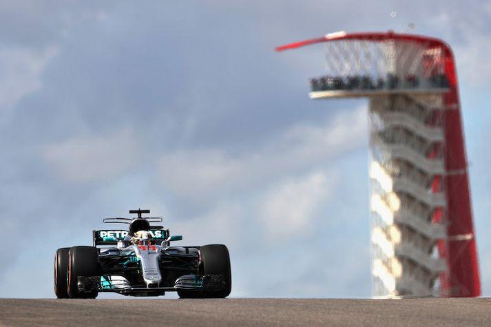 Lewis Hamilton var ekki ógnað í dag.