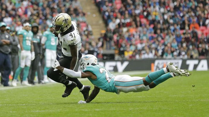 Frá leik New Orleans Saints og Miami Dolphins á Wembley.