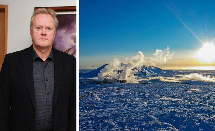 Fannar Jónasson er bæjarstjóri Grindavíkur og sat fundi í Skógarhlíð í allan dag.
