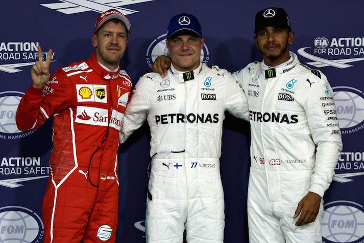 Þrír hröðustu frá vinstri: Sebastian Vettel, Valtteri Bottas og Lewis Hamilton.