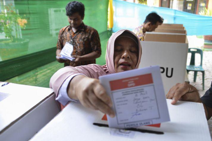 Á kjörstað í Banda Aceh fyrr í mánuðinum.