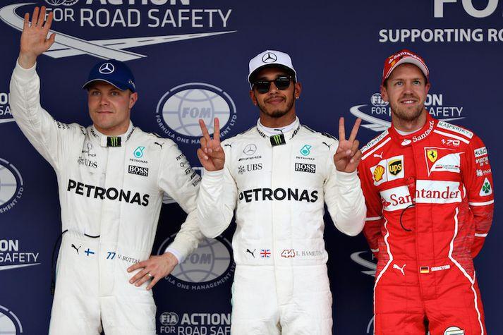 Valtteri Bottas, Lewis Hamilton og Sebastian Vettel voru þrír fljótustu menn dagsins.