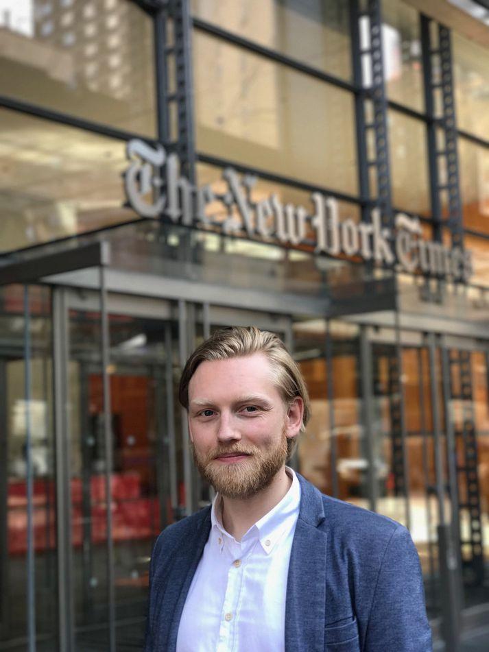 """""""Þetta er svo mikill suðupottur menningarheima,"""" segir Tryggvi Aðalbjörnsson sem býr í New York og starfar í sumar hjá New York Times."""