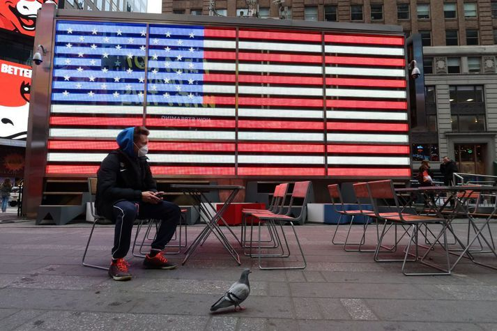 Frá Times Square í New York.
