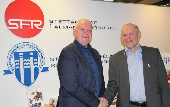 Árni Stefán Jónsson, formaður SFR (t.h.), og Garðar HIlmarsson, formaður Starfsmannafélags Reykjavíkurborgar (t.v.).