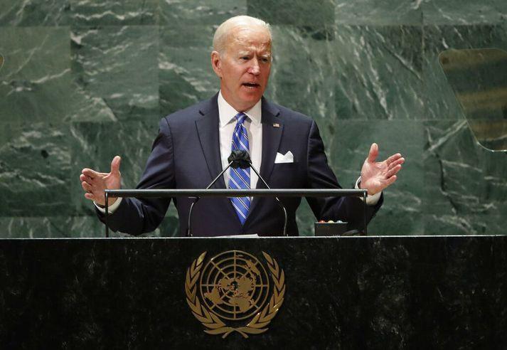 Joe Biden Bandaríkjaforseti í pontu á 76. allsherjarþingi Sameinuðu þjóðanna í New York í dag.