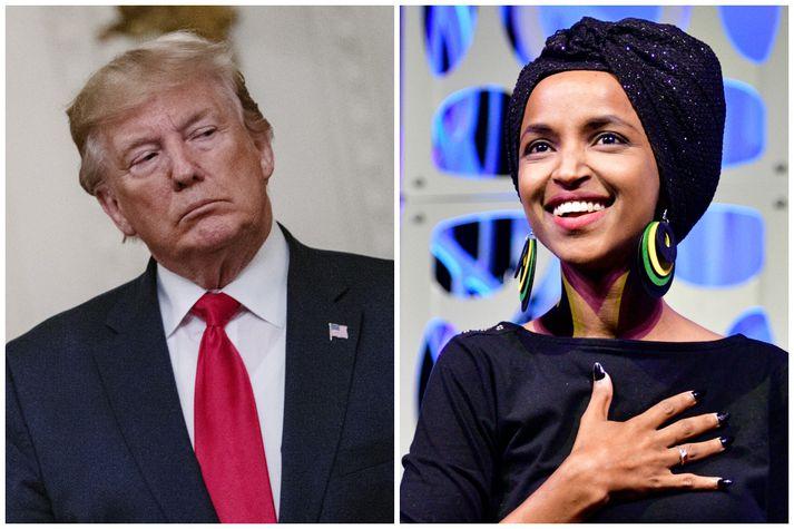 Trump hefur einkum beint spjótum sínum að Ilhan Omar, þingkonu Demókrataflokksins, sem flutti barnung til Bandaríkjanna frá Sómalíu.