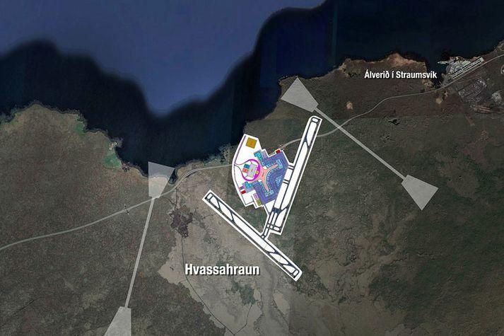 Hugsanleg staðsetning stórs innanlands- og millilandaflugvallar í Hvassahrauni, miðað við hugmynd Goldberg Partners. Ráðgjafinn sýnir einnig dæmi um mögulegar viðbótarflugbrautir. Brautarstefnur eru miðaðar við erfiðustu vindáttir.