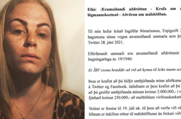 Ólöf Tara birtir mynd af kröfubréfunum og á henni að skilja að hún ætli ekki að verða við kröfunni.
