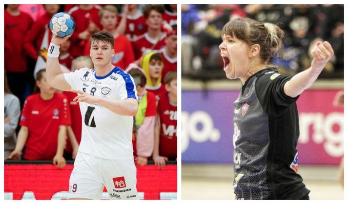 Elvar og Íris Björk, bestu leikmenn Olís-deildanna í handbolta tímabilið 2018-19.