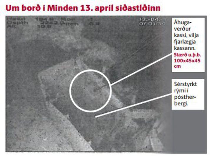 Kassi sem AMS vill skyggnast í er í sérstyrktu rými undir efsta þilfari Minden sem liggur á 2.242 metra dýpi um 120 mílur undan Íslandi.