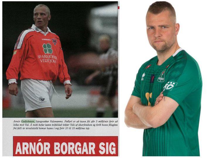 Guðjón Pétur Lýðsson er til hægri en til vinstri er úrklippa úr Frjálsi verslun í júlí 1998 þar sem er rétt um fjárfestingu Valsmanna að semja við Arnór Guðjohnsen.