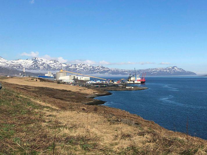 Tíu skipverjar súrálsflutningaskips veiktust af Covid-19. Skipið hefur verið við Mjóeyrarhöfn á Reyðarfirði frá 20. mars. Myndin er úr safni.