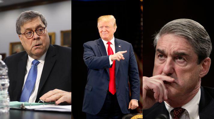 Persónur og leikendur. frá vinstri,  Dómsmálaráðherrann Barr- forsetinn Trump-Mueller rannsakandi.