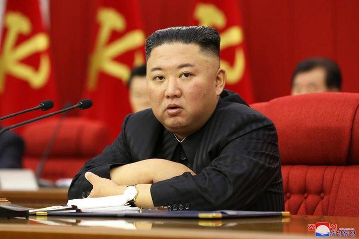 Hinn 37 ára Kim Jong-un hefur stýrt Norður-Kóreu frá árinu 2011.