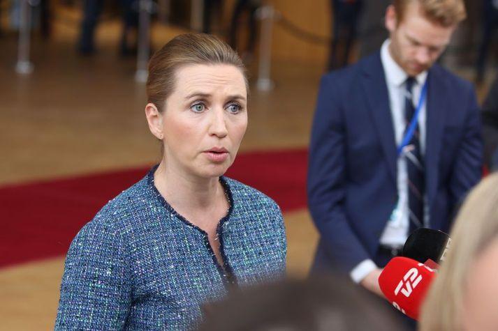 Mette Frederiksen, forsætisráðherra Danmerkur, kynnti hertar aðgerðir í dag.