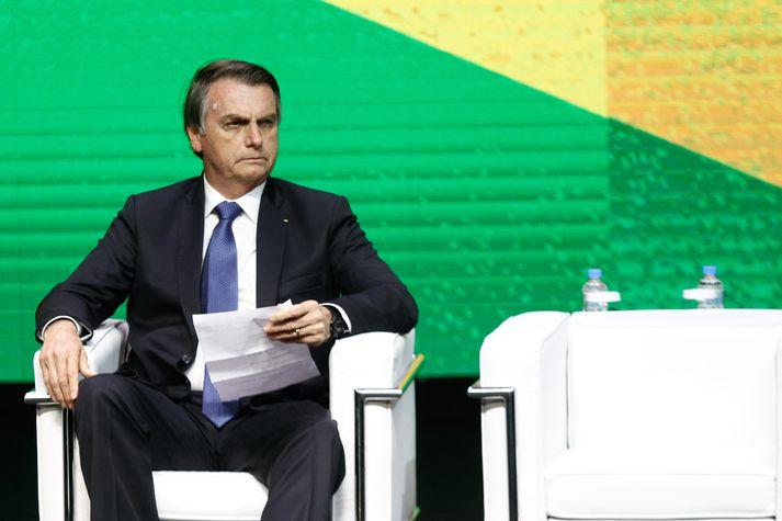Jair Bolsonaro var stunginn þegar hann var í framboði til forseta Brasilíu.
