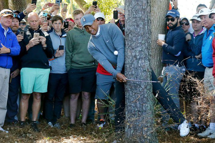 Tiger Woods í erfiðri stöðu en leysti þetta vel.