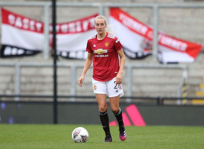 Millie Turner stendur vaktina í vörn Manchester United með Maríu Þórisdóttur.