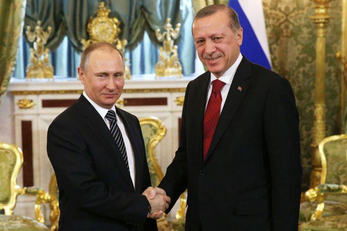 Vladimir Putin (t.v.) og Recep Tayyip Erdogan (t.h.) munu funda í Sochi í vikunni.