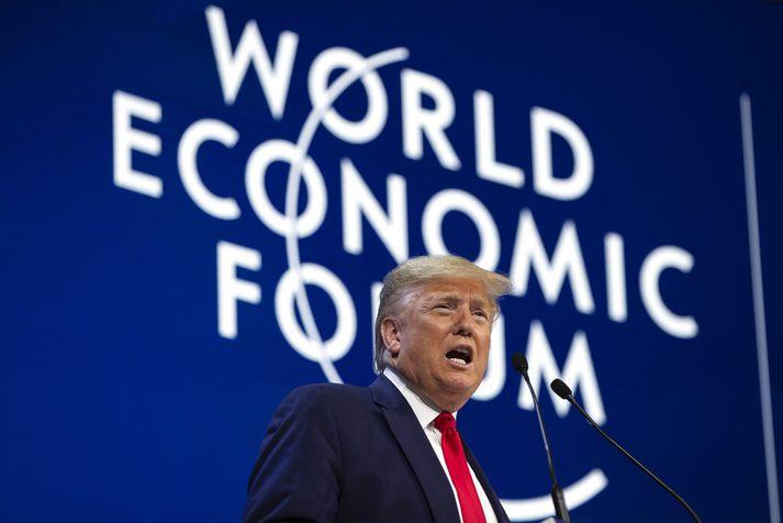 Donald Trump talaði í hálftíma í Davos.