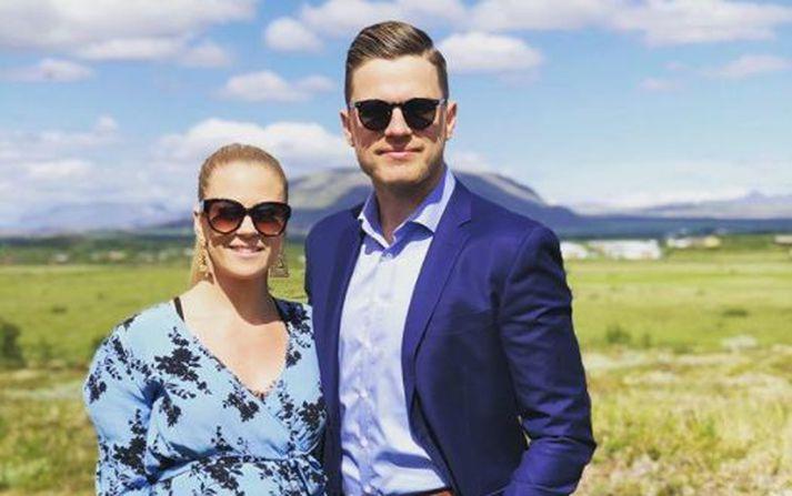 Karen og Þorgrímur á góðri stundu í sumar.